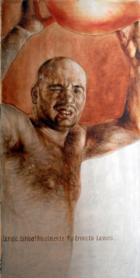 EUROPA, FINALMENTE HO TROVATO LAVORO olio su tavola cm. 200 x 100 - Raffaele Canoro _ Napoli