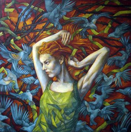 LA STREGA tec. mista su tavola cm. 100 x 100 - Elisabetta Trevisan _ Treviso