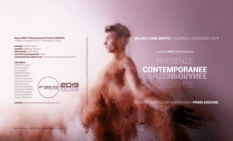 <p>PRESENZE CONTEMPORANEE – evento d&#8217;arte contemporanea Prima edizione 14 aprile / 14 giugno 2019 PAM_Parete Art Museum (Palazzo Ducale di Parete &#8211; Caserta &#8211; Via Umberto I n° 40) Inaugurazione 14 Aprile ore 17:00 | concept di Paolo Feroce &#8211; mostra a cura di Barbara Vincenzi Presenze Contemporanee nacque nel [&hellip;]</p>